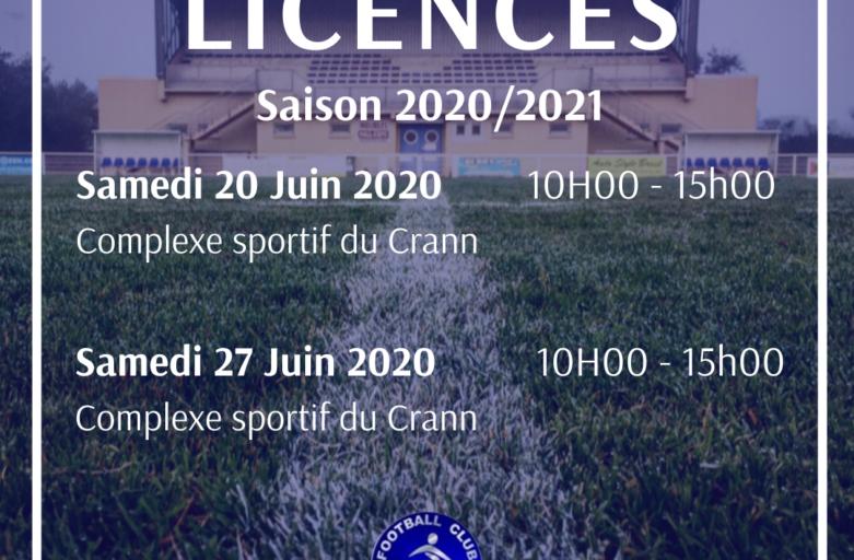 Licences – Saison 2020/2021