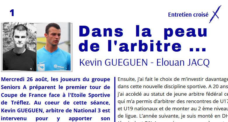 Dans la peau de l'arbitre … Kevin Gueguen – Elouan Jacq